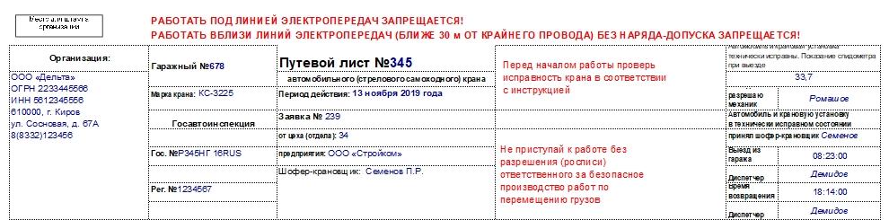 Путевой лист автокрана: скачать бесплатно форму заполнения путевого листа